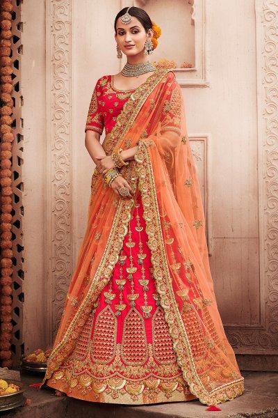 Peach and Red Zari Embroidered Wedding Lehenga in Silk