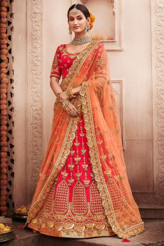 Peach and Red Zari Embroidered Wedding Lehenga in Silk