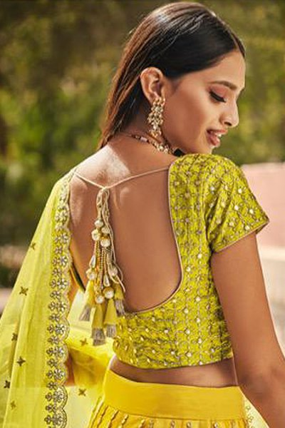 Yellow and Green Net Lehenga Choli with Gota Work