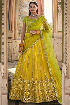 Yellow and Green Net Lehenga Choli with Gota Work