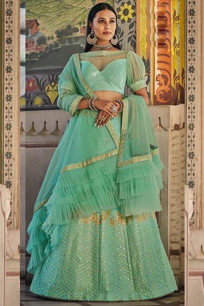 Mint Green Handloom Silk Lehenga with Sequin Detailing