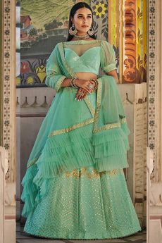 Mint Green Handloom Silk Lehenga with Sequin Detailing