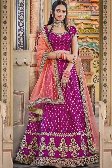 Purple Zari Embroidered Silk Lehenga