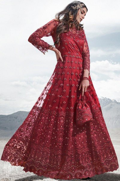 Red Resham Embroidered and Sequin Work Anarkali with Lehenga/Pant and Elegant Potli Bag