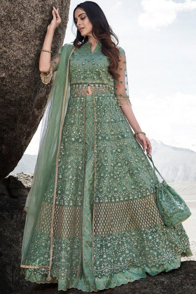 Pista Green Resham Embroidered and Sequin Work Net Lehenga with Elegant Potli Bag