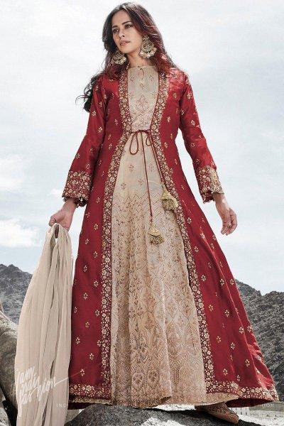 Maroon and Beige Jacket Style Silk Anarkali Suit
