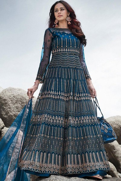 Teal Blue Zari Embroidered Net Anarkali with Lehenga/Pant and Elegant Potli