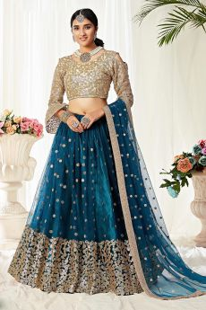 Sequin Embellished Teal Blue Lehenga in Net