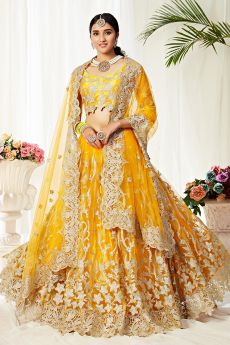 Resham Embroidered Yellow Net Lehenga Choli