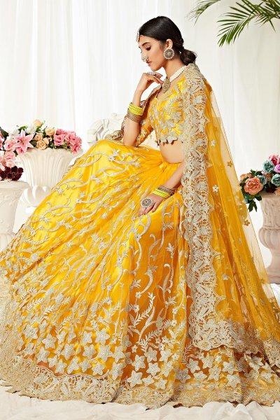 Resham Embroidered Yellow Net Lehenga Choli