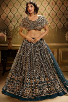 Teal Blue Sequin Embellished Net Indian Lehenga Choli