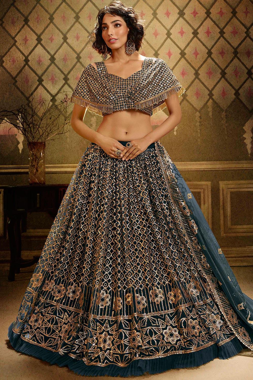 Teal Blue Sequin Embellished Net Indian Lehenga Choli