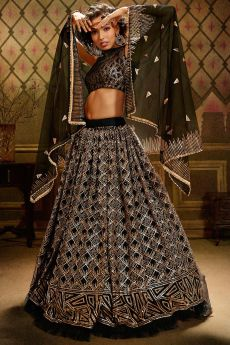Black Sequin Embellished Net Lehenga Choli