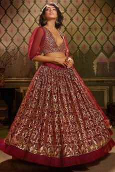 Bright Maroon Sequin Embellished Lehenga Choli