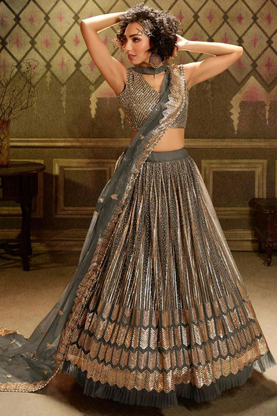 Grey Sequin Embellished Net Lehenga Choli