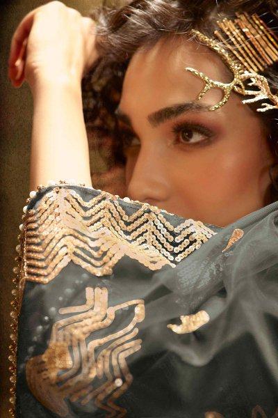 Grey Sequin Embellished Net Lehenga Choli