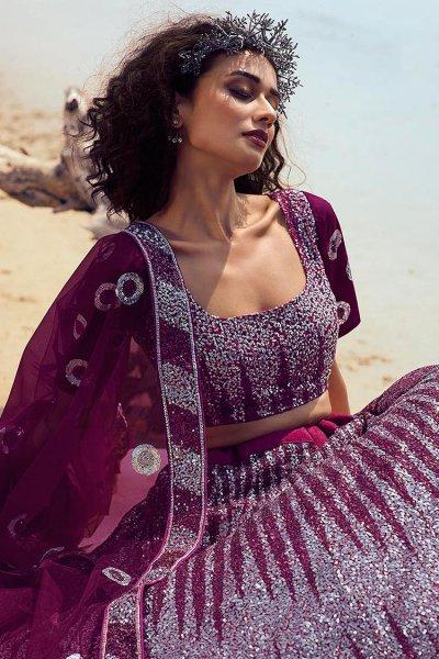 Wine Sequin Embellished Designer Net Indian Lehenga