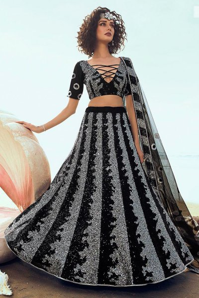 Black Sequin Embellished Indian Designer Net Lehenga