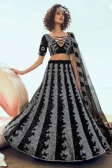 Black Sequin Embellished Indian Designer Net Lehenga