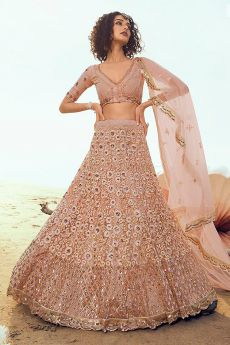 Light Peach Resham Embroidered Lehenga Choli with Sequin Detailing