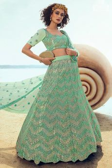 Mint Green Sequin Embellished Indian Designer Net Lehenga