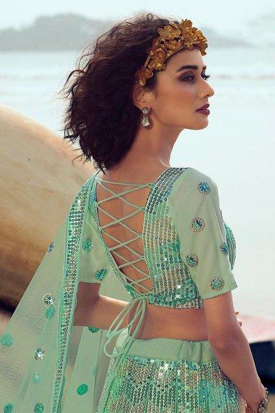 Mint Green Sequin Embellished Indian Designer Net Lehenga