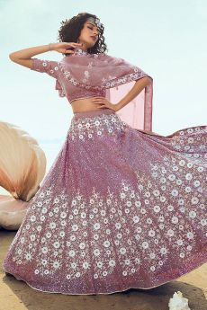Designer Lilac Lehenga Choli with Sequin Detailing