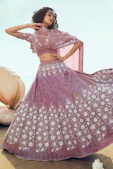 Designer Lilac Lehenga Choli with Sequin Detailing