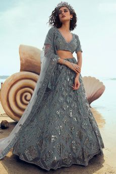 Grey Patch Sequin Embellished Net Lehenga Choli