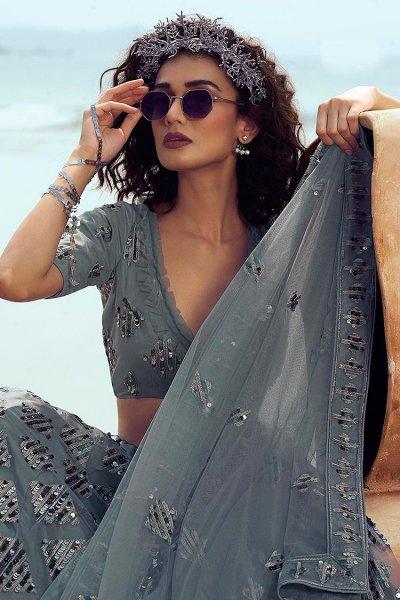 Grey Patch Sequin Embellished Net Lehenga Choli