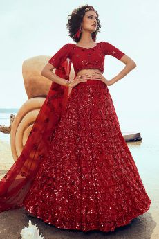 Ravishing Red Sequin Embellished Net Lehenga Choli