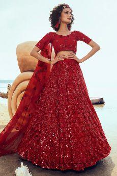 Ravishing Red Sequin Embellished Net Lehenga Choli