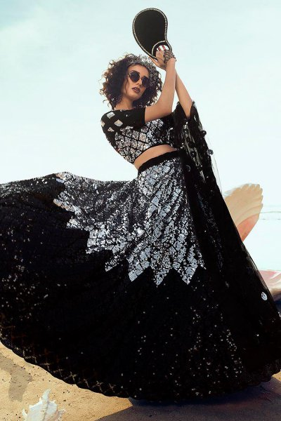 Black sequin Embellished Designer Net Lehenga