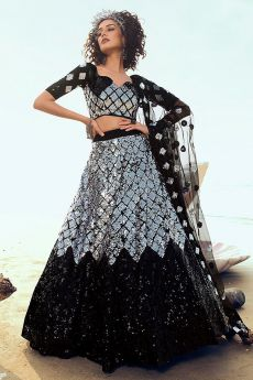 Black sequin Embellished Designer Net Lehenga