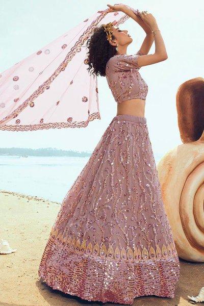 Dusky Pink Lehenga Choli with Sequin Detailing