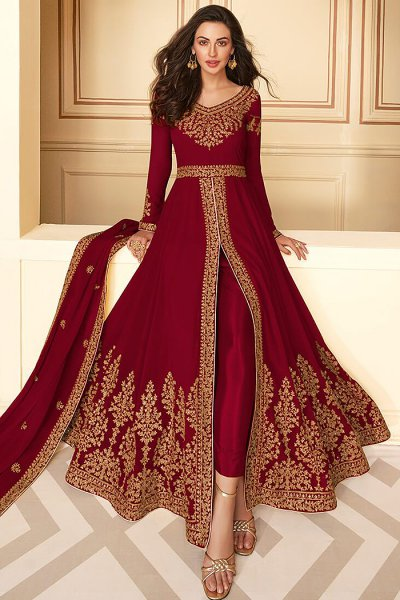 Dazzling Maroon Zari Embroidered Georgette Anarkali Suit