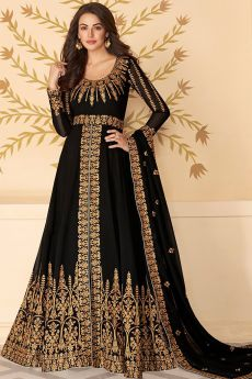 Dazzling Black Zari Embroidered Georgette Anarkali Suit