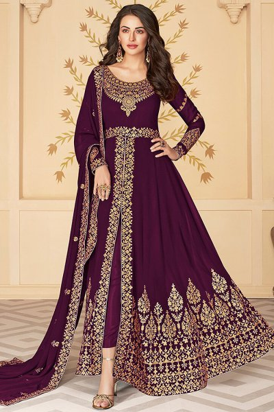 Dazzling Purple Zari Embroidered Georgette Anarkali Suit