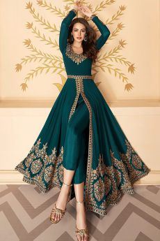 Dazzling Dark Teal Zari Embroidered Georgette Anarkali Suit with Dupatta