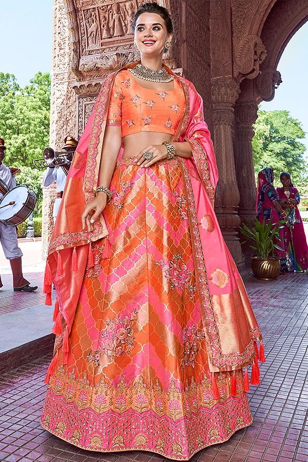 Orange and Pink Zari Embroidered Silk Indian Lehenga Choli