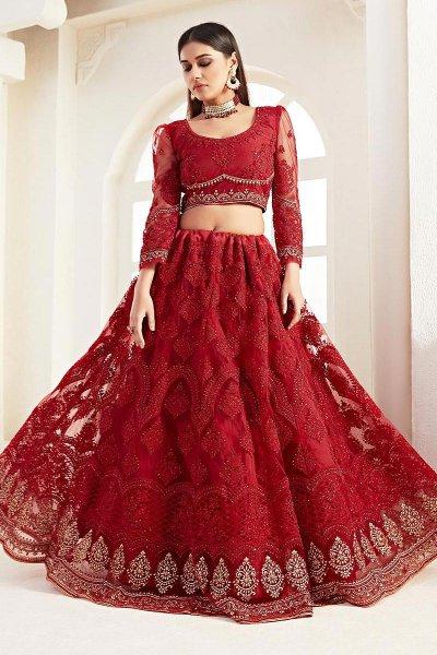 Ravishing Red Zari  Embroidered Bridal Wear Lehenga