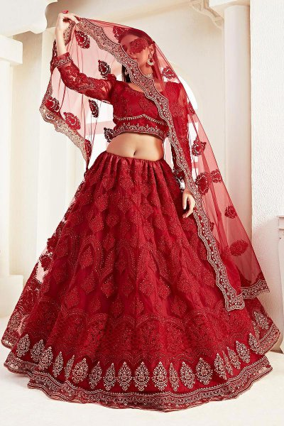 Ravishing Red Zari  Embroidered Bridal Wear Lehenga