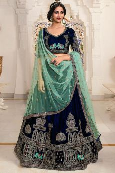 Navy and Mint Green Velvet Lehenga Choli with Embellishments