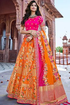 Orange and Pink Silk Designer Lehenga