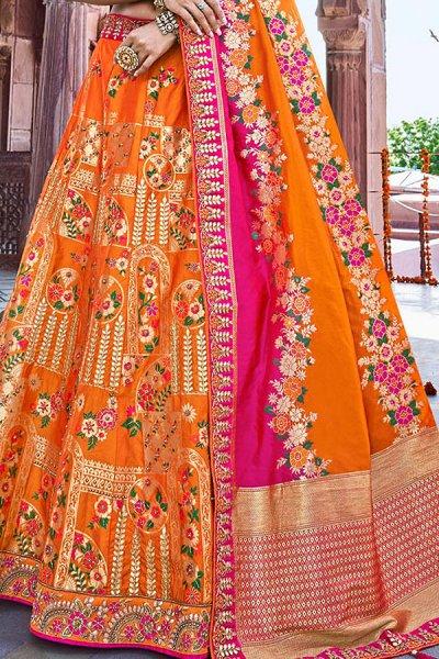Orange and Pink Silk Designer Lehenga