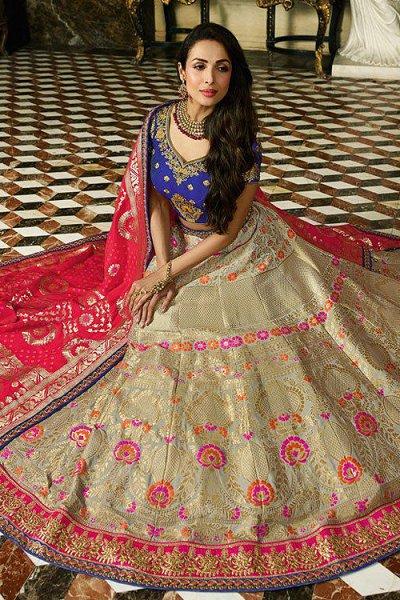 Pure Jacquard Silk Designer Lehenga with Stone Embellishments