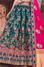 Banarasi Silk Pink and Teal Embroidered Lehenga Choli Set