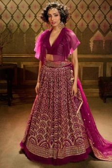 Wine Sequin Embellished Net Lehenga Choli