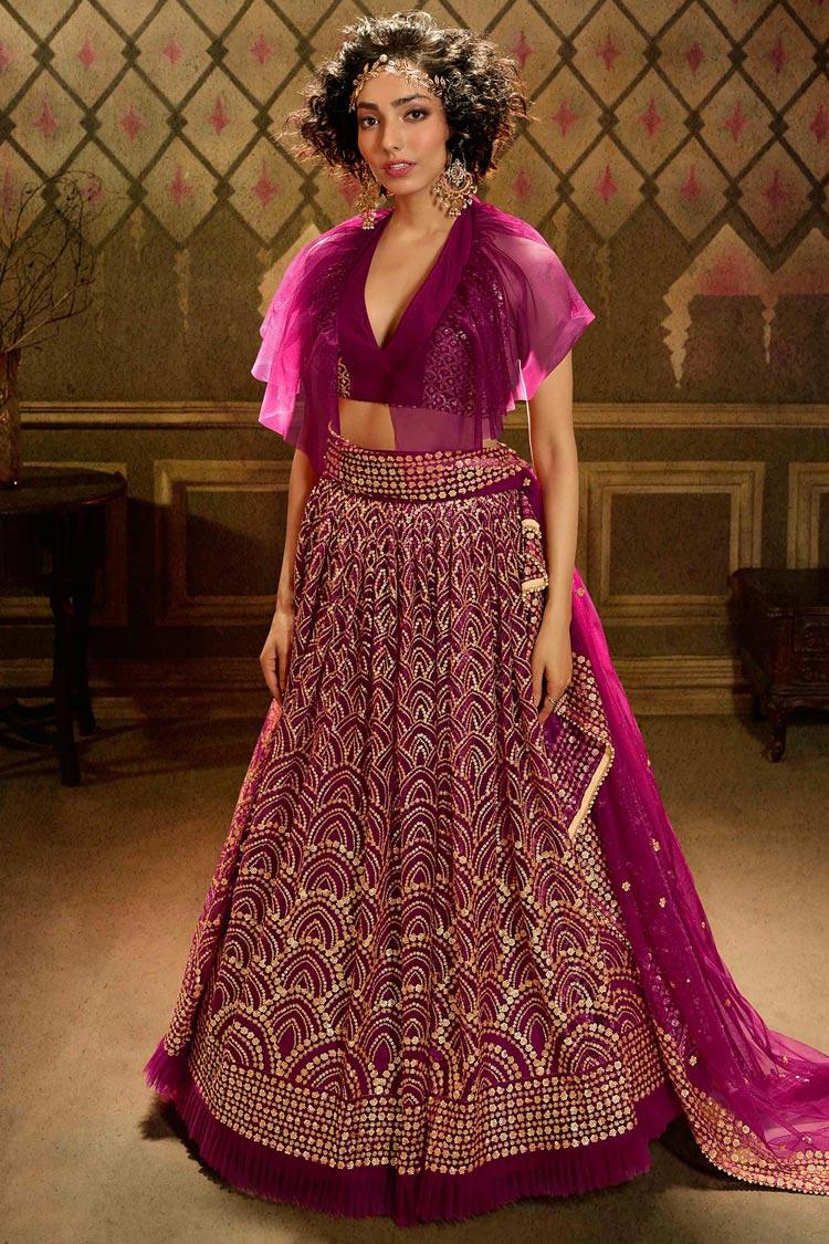 Wine Sequin Embellished Net Lehenga Choli