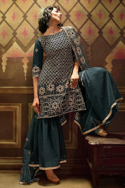 Dark Teal Sequin Embellished Net Sharara Suits